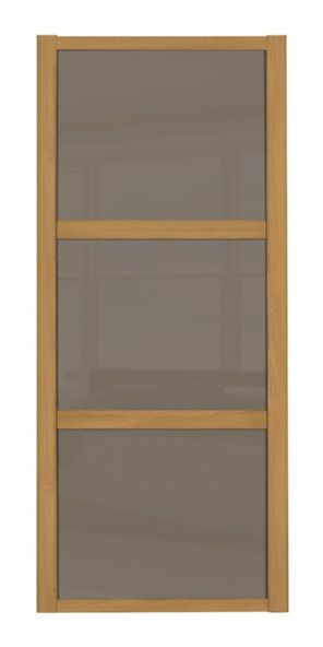 Shaker Sliding Wardrobe Door- OAK FRAME - 3  CAPPUCCINO GLASS PANELS